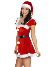 Christmas Costume Santa Womens Short Dress Evening Prom Ball Cosplay Roleplay