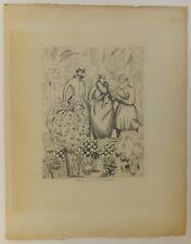"""Laboureur (Jean-Emile) """"Chez la floriste"""" art déco eau-forte etching 1920"""