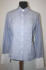 Thomas Pink Pleated Steel Blue Fitted Tuxedo Shirt French Cuffs Size US 8