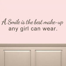 Marilyn Monroe Wall Decal Smile is The Best Make-Up Quote Vinyl Teen Girl Decor