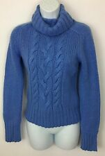 Express Wool Cashmere Angora Blend Blue Cable Knit Turtleneck Sweater Size S