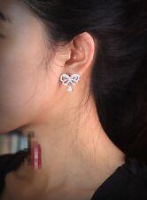 Boucles d'Oreilles Clous Argenté Transparent CZ Noeud Papillon Goutte G1 61