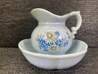 Vintage McCoy Pottery Pitcher & Bowl  Basin #7528 Powder Blue Daisies USA