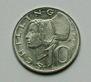 1991 AUSTRIA Coin - 10 Schilling - EF+ toned-lustre - Austrian girl in hat