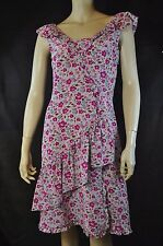 Marc Jacobs 100% Silk Multi Color Floral Print  Ruffle V Neck Dress SZ 6