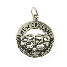 925 Sterling Silver New orleas Comedy Tragedy Mask Charm Made in USA
