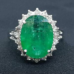 $4,899 SOLID 14K White Gold 4.38ctw Colombian Emerald & I-SI Diamond Ring Size 7