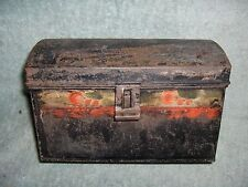 Antique 1850's 1860's 1870's ? Painted Tin Toleware Document Box Barn Fresh