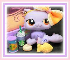 ❤️HTF Littlest Pet Shop LPS #1771 Purple Persian Cat Kitten GEMS w/ Starbucks❤️