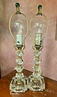 MCM HOLLYWOOD REGENCY Faceted Glass & Gold BOUDOIR LAMPS Green Glass Finials