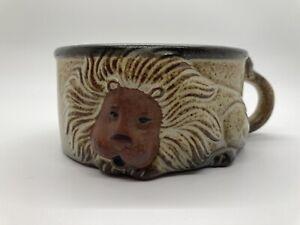 "Vintage 1970's John Buck Gempo Pottery ""Mighty"" Lion Handled Soup Mug H 2""x W 4"""