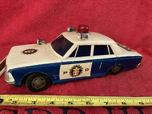 """RARE """"Y"""" MARKED JAPAN BATTERY OP OPERATED TOY POLICE DEPARTMENT CAR SUPER DELUXE"""
