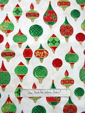 Christmas Fabric - Metallic Bulb Ornament Cream - Wilmington YARD