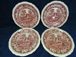"4 Copeland Spode Tower Pink Salad Plates 7 3/4"" Old Mark"