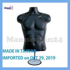 Male Mannequin Torso Form - Black Dress Form w/ Stand & Hanging Hook