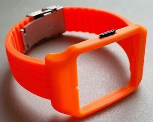Sony SmartWatch 3 SWR50 Orange Adaptor & Orange Silicone Strap with Clasp