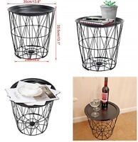 Retro Black Metal Wire Round Metal Top Storage Side Table Basket Home Storage
