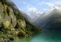 Art Oil painting Johann Joseph Jansen Aachen view of Lake Lucerne nice landscape