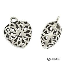 1PC Antique Sterling Silver Filigree Puffy Heart Dangle Pendant Charm Bead 97527