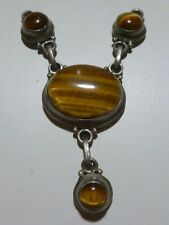 UNIQUE WOMENS TIGERS EYE STERLING SILVER VINTAGE PENDANT FOR NECKLACE ESTATE