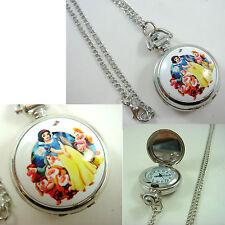 Princess Snow White Girl Women Ladies Child Fashion Pocket Watch Necklace +CHARM