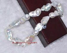 "Huge REAL 17""30mm AAAAA LUSTER Natural south sea baroque white pearl necklace"