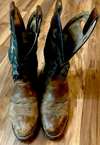 Double-H Mens Buckaroo Leather Western Work Boot BRN GREEN SZ 10.5 Made In USA