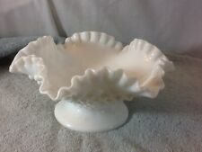 Vintage Collectible Milk White Hobnail Fenton Ruffle Fluted Rim Bowl pre-owned