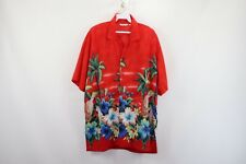 Vintage 80s Mens Large Macaw Floral Print Magnum PI Short Sleeve Hawaiian Shirt