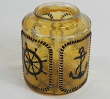 Vintage Glass Lamp Light Shade Boat Anchor Ship's Gear Wheel Yellow Tint 5-3/4""