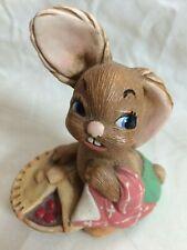 Vintage Pendelfin Pieface Rabbit Green Pant Pink blanket Cherry Hand painted