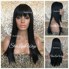 Long Straight Full Wig With Bangs Jet Black #1 Heat Safe Ok Wigs For Women
