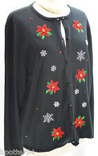UGLY Christmas Cardigan Sweater Top Black knit Red poinsettia holiday top SZ XL