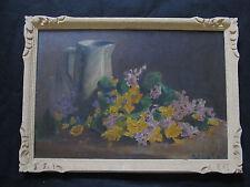 """Belle nature morte 1930 """"la jetée de fleurs prés du pichet """""""