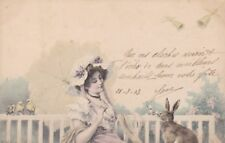 Artist Signed Wichera Easter Beautiful  lady with Rabbit old Postcard 1903s