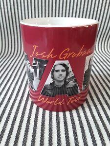 HTF JOSH GROBAN AWAKE WORLD TOUR COFFEE MUG TEA CUP - RED GRAY BLACK PHOTOS