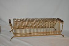 vtg 60 record GOLD WIRE RETRO  RACK caddy WOODEN HANDLES  Mid Century EAMES