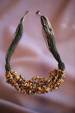 "19""- 6 Strand Tiger Eye Chips Necklace w/Black Silk String Accent & Button Clasp"