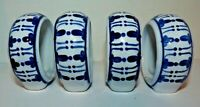 Napkin Rings Vintage Blue White Footed Porcelain Set of 4 Farmhouse Shabby Decor