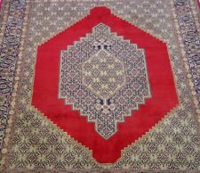 "5'7 x 7'2""  Premium Quality Hand Knotted Wool Medallion Red Green Oriental Rug"