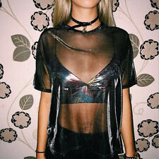 Fashion Women Hollow Summer Short Sleeve Mesh Tee T-shirt See Through Top Blouse