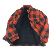 Vintage Flannel Jacket Sears Outerwear Men's M Plaid Lumberjack Grunge Fur Lined
