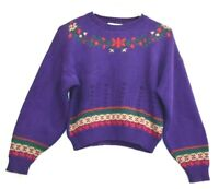 Sweater Loft Petites Women's Small Vintage Bishop Sleeves Knitted Sweater Purple