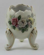 Inarco Hand Painted Porcelain Footed Egg Cup Roses Gold Trim 1962
