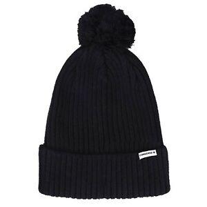 Converse All Star Pom Pom Rib Knit Bobble Black Beanie Hat CON728