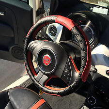 "New Black 14.5""-15"" Red PVC Leather Steering Wheel Cover 51004 Medium Size"