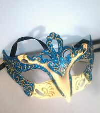 Large Blue & Cream Rialto Eye Mask Fancy Dress Masquerade Costume Hen Party