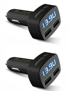 2X Dual 12-24VDC USB Car Lighter Charger w Voltmeter Ammeter Temperature 5V 3.1A