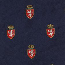 POLO RALPH LAUREN Navy Blue Royalty Crest Thrones Medieval Mens Silk Neck Tie