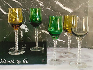 Vintage Hand Blown Twisted Stem Multi Color Wine Glasses | Emerald Green, Amber